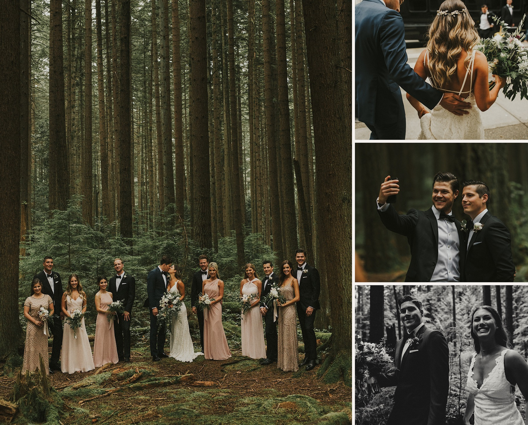 wedding party portraits in Pacific Spirit Park