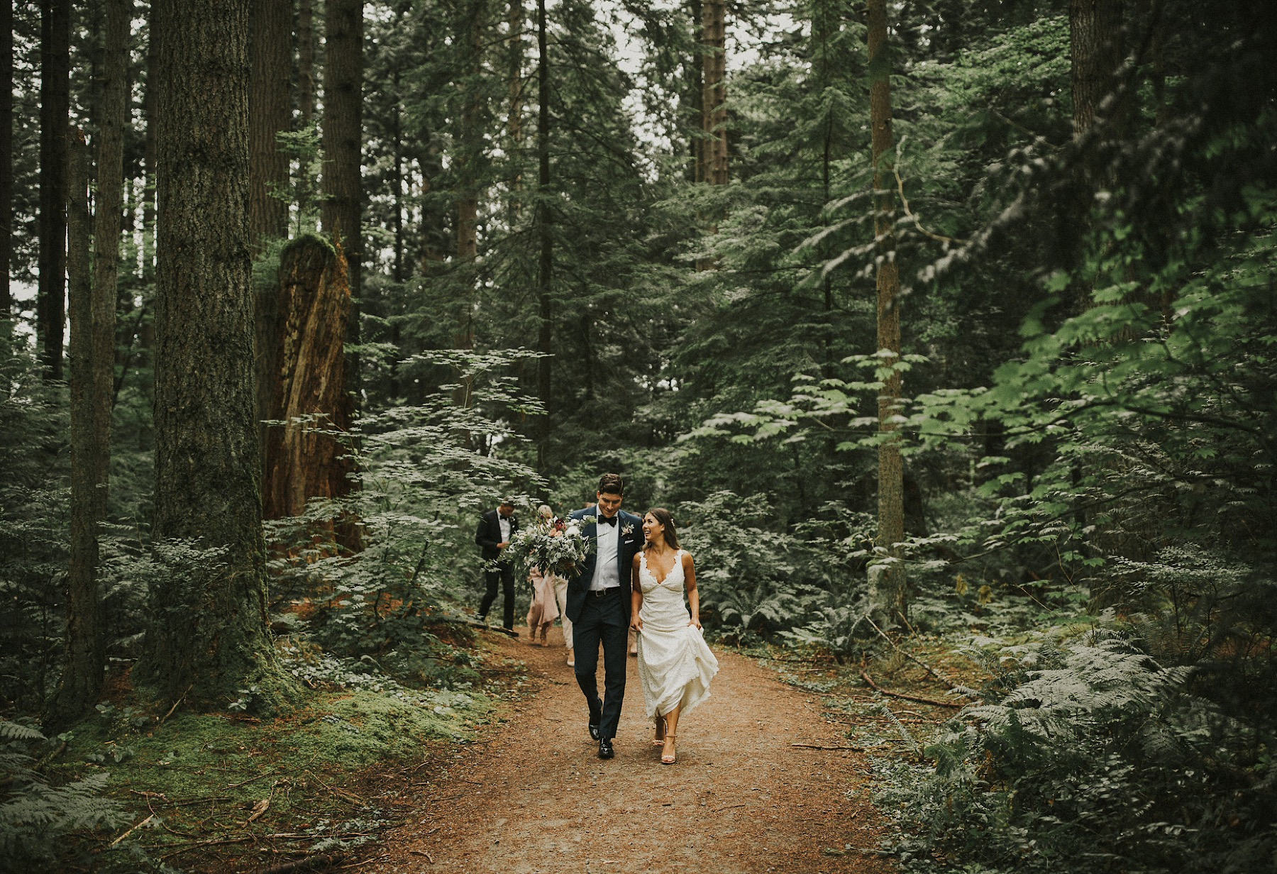 bride and groom in Pacific Spirit Park wedding